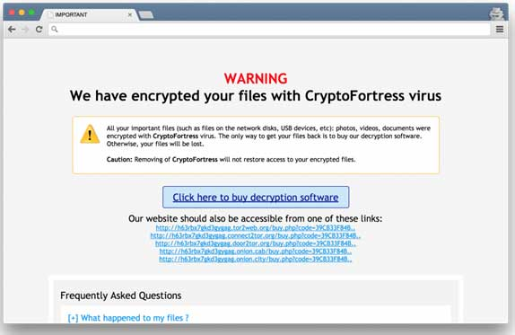 CryptoFortress ransom page